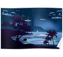 Tropical Island at Night 2 Poster