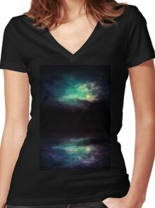 Night Sky and River 2 Women's Fitted V-Neck T-Shirt