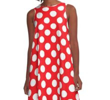 polkadot red A-Line Dress