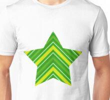 Stripes Diagonal Chevron Green and Gold Unisex T-Shirt