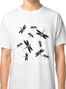 Black and white dragonflies Classic T-Shirt