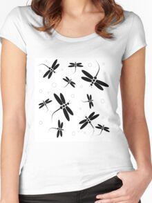 Black and white dragonflies Women's Fitted Scoop T-Shirt