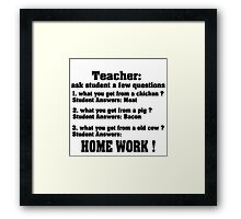 Teacher ask student few questions Framed Print