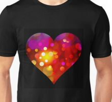 Red Bokeh Heart Black Background Unisex T-Shirt