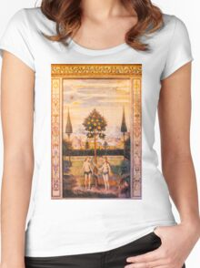 Adam and Eve Oil Painting Women's Fitted Scoop T-Shirt