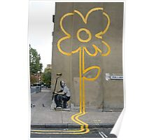 Banksy Yellow Lines Flower Painter Poster