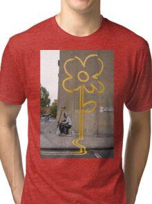 Banksy Yellow Lines Flower Painter Tri-blend T-Shirt