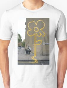 Banksy Yellow Lines Flower Painter Unisex T-Shirt