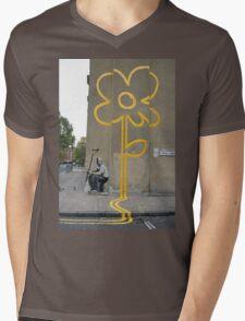Banksy Yellow Lines Flower Painter Mens V-Neck T-Shirt