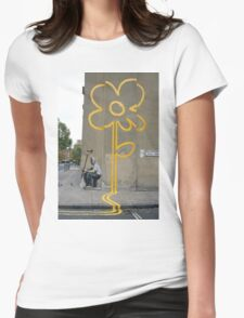 Banksy Yellow Lines Flower Painter Womens Fitted T-Shirt