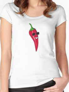 Funny Cartoon Chili Dude Sticker Women's Fitted Scoop T-Shirt