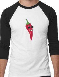 Funny Cartoon Chili Dude Sticker Men's Baseball ¾ T-Shirt