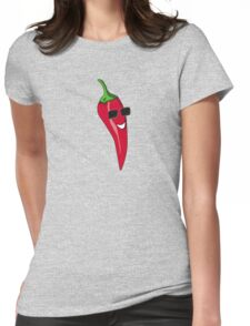 Funny Cartoon Chili Dude Sticker Womens Fitted T-Shirt