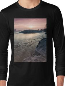 sunset on the big river Long Sleeve T-Shirt