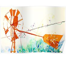 Windmill & Wire Poster