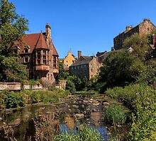 The Water of Leith with Well Court (Left) & Dean Village (Right) by Miles Gray