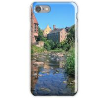 Long Exposure of The Water of Leith with Well Court (Left) & Dean Village (Right) iPhone Case/Skin