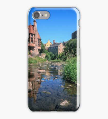 Long Exposure: The Water of Leith with Well Court (Left) & Dean Village (Right) iPhone Case/Skin