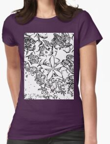 Plumeria, Black and white Womens Fitted T-Shirt