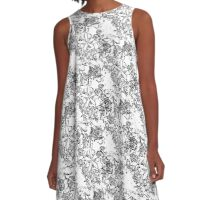 Plumeria, Black and white A-Line Dress