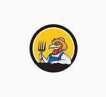 Chicken Farmer Pitchfork Circle Cartoon Unisex T-Shirt