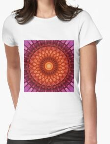 Flowery mandala in red and orange Womens Fitted T-Shirt