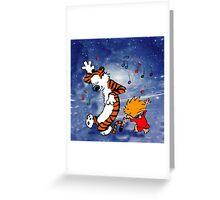 Dancing Calvin and Hobbes Greeting Card