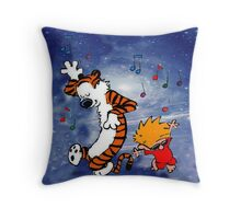 Dancing Calvin and Hobbes Throw Pillow