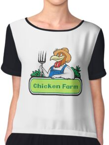 Chicken Farmer Pitchfork Vegetables Cartoon Chiffon Top