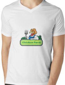 Chicken Farmer Pitchfork Vegetables Cartoon Mens V-Neck T-Shirt