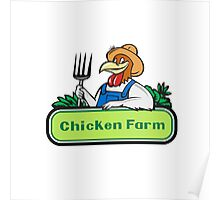 Chicken Farmer Pitchfork Vegetables Cartoon Poster