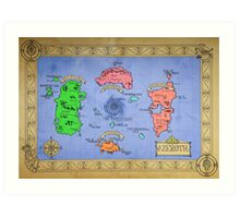 Azeroth map - Colored hand drawn Art Print