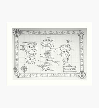 Azeroth map - Black and White hand drawn Art Print