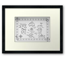 Azeroth map - Black and White hand drawn Framed Print