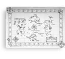 Azeroth map - Black and White hand drawn Canvas Print