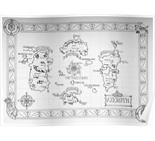 Azeroth map - Black and White hand drawn Poster
