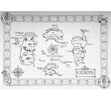 Azeroth map - Black and White hand drawn Photographic Print