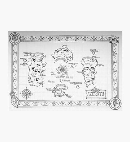 Azeroth map - Black and White hand drawn Photographic Print