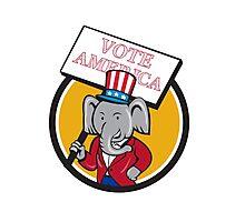Republican Elephant Mascot Vote America Circle Cartoon Photographic Print