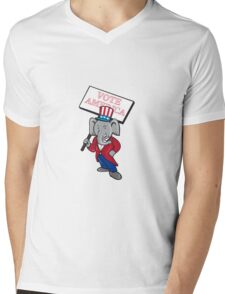 Republican Elephant Mascot Vote America Cartoon Mens V-Neck T-Shirt