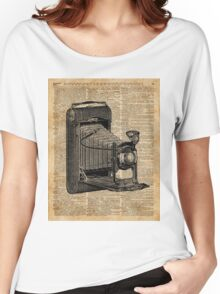 Antique Conley Camera on a Vintage Encyclopedia Background Women's Relaxed Fit T-Shirt