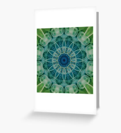 Detailed mandala in green and blue tones Greeting Card