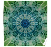 Detailed mandala in green and blue tones Poster