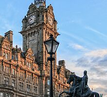 Balmoral Clocktower and Duke of Wellington Statue. Edinburgh by Miles Gray