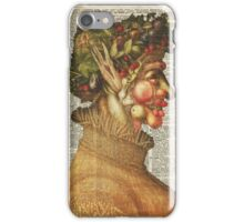 "Arcimboldo's Nature Inspired Collage ""Summer"" on Vintage Dictionary Book Page Background iPhone Case/Skin"