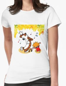 Dance Calvin and Hobbes  Womens Fitted T-Shirt