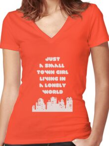 Small Town Girl Women's Fitted V-Neck T-Shirt