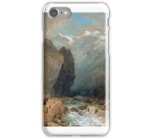 Thomas Miles Richardson the Younger  - Travellers with a horse-drawn wagon, in a ravine, with Alpine mounatins beyond iPhone Case/Skin