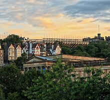 Edinburgh Sunset from Princes Street Gardens by Miles Gray