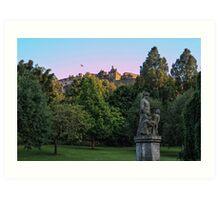 The Genius of Architecture Statue below Edinburgh Castle Art Print